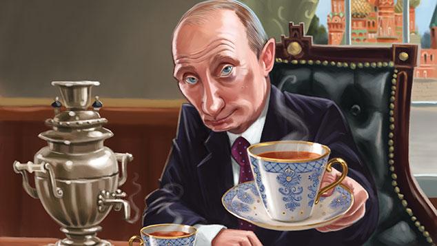 MoneyWeek magazine cover illustration, issue 878. Putin offering tea.jpg