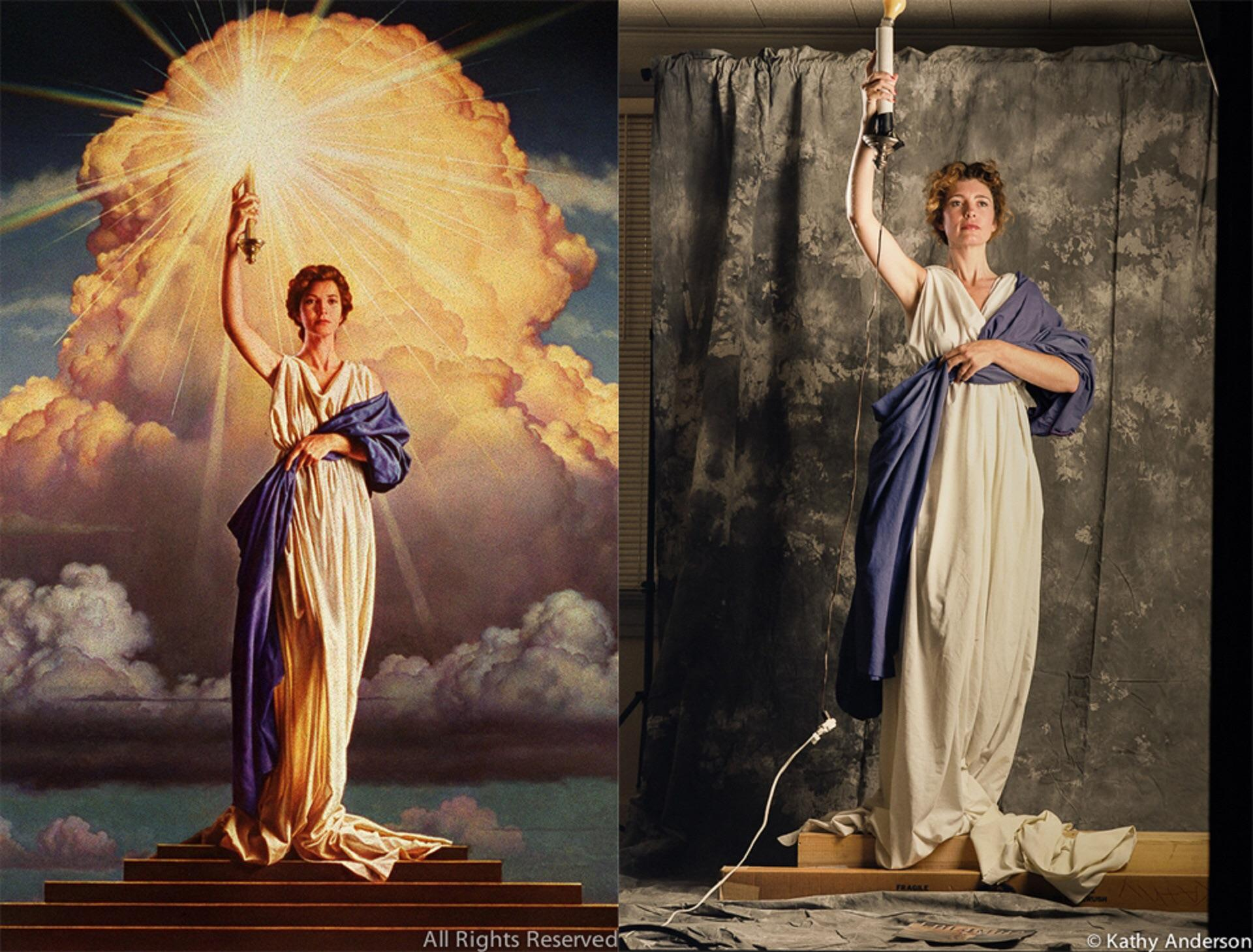 28-year-old Jenny Joseph posing for Columbia Pictures Logo, 1992.jpg