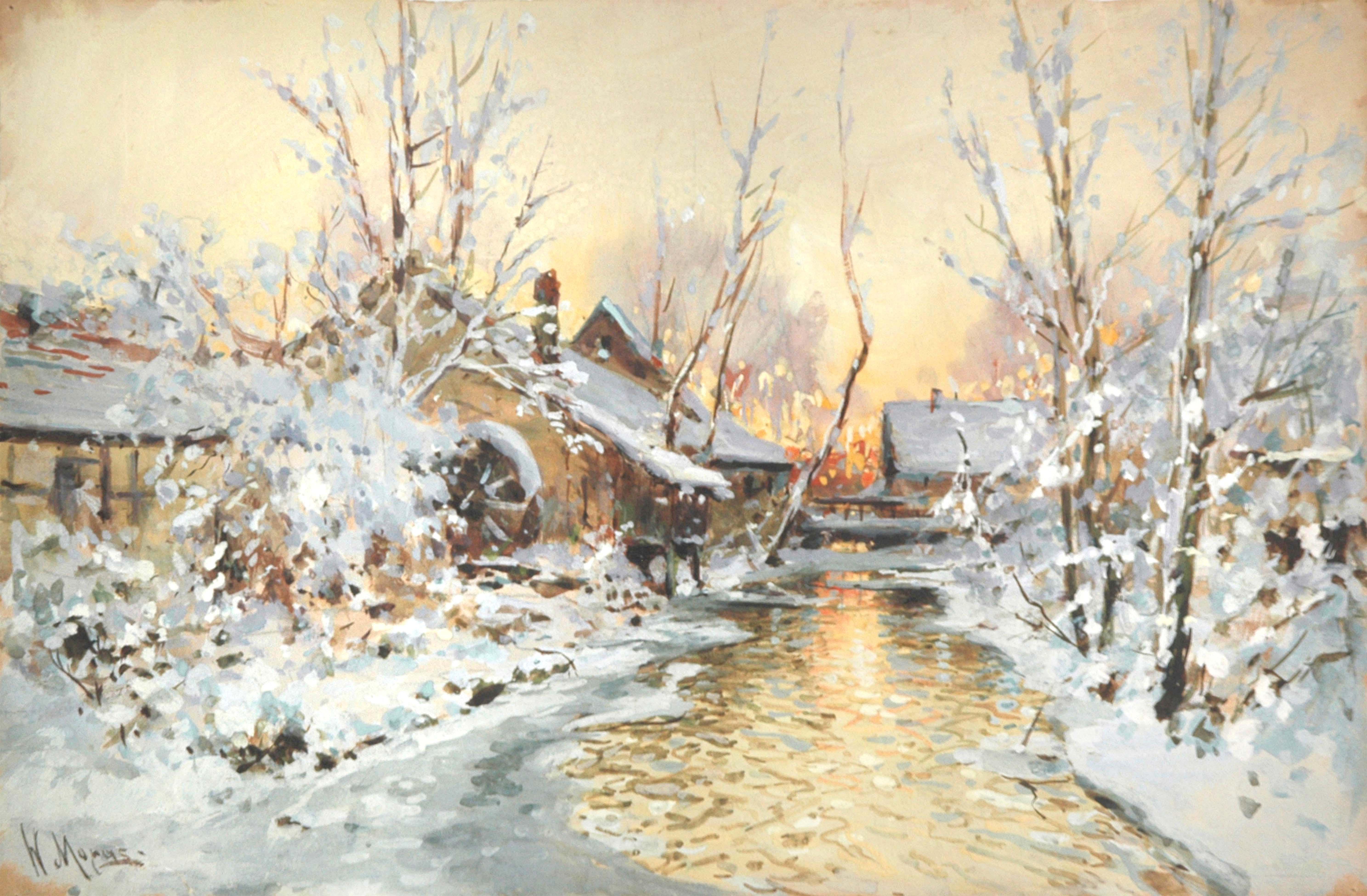 Verschneite Wassermühle, Walter Moras, Gouache, circa 1900..jpg