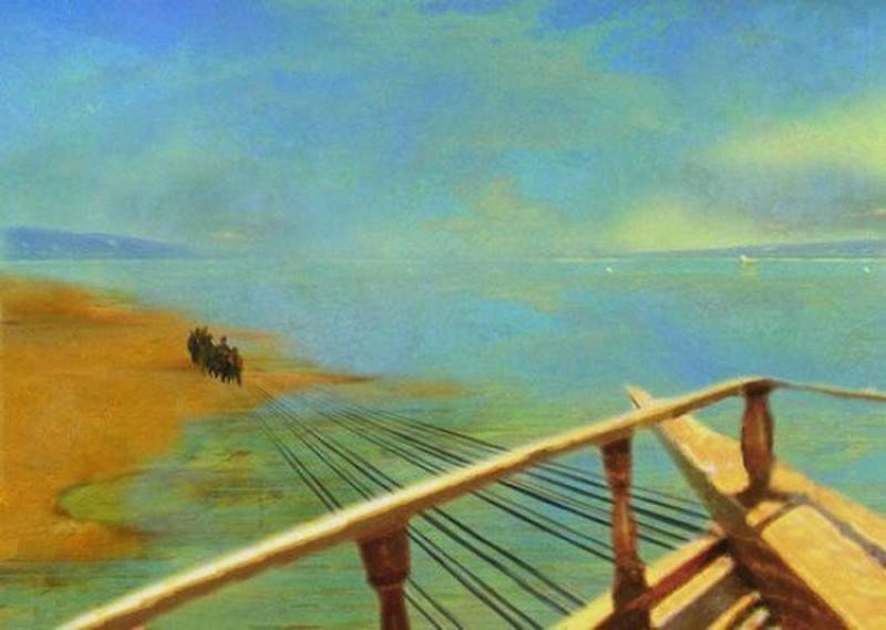 Бурлаки на Волге, Илья Репин, вид с корабля.jpg