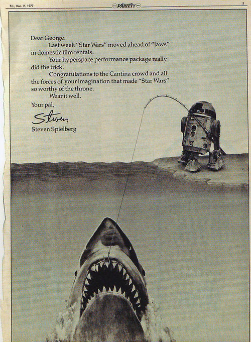 A letter from Spielberg congratulating Lucas when Star Wars passed Jaws in box office revenue (1977).jpg
