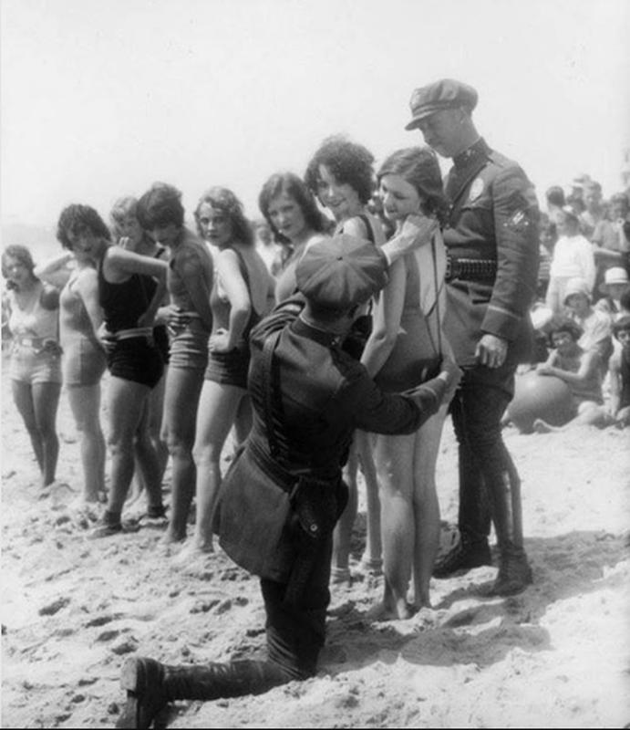 Bathing suit censors with their tape measure at Venice Beach, California in 1929.jpg