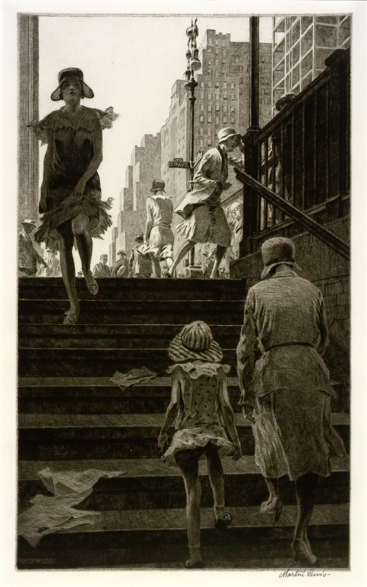 SUBWAY STEPS – Martin Lewis – 1930 – drypoint on paper.jpg