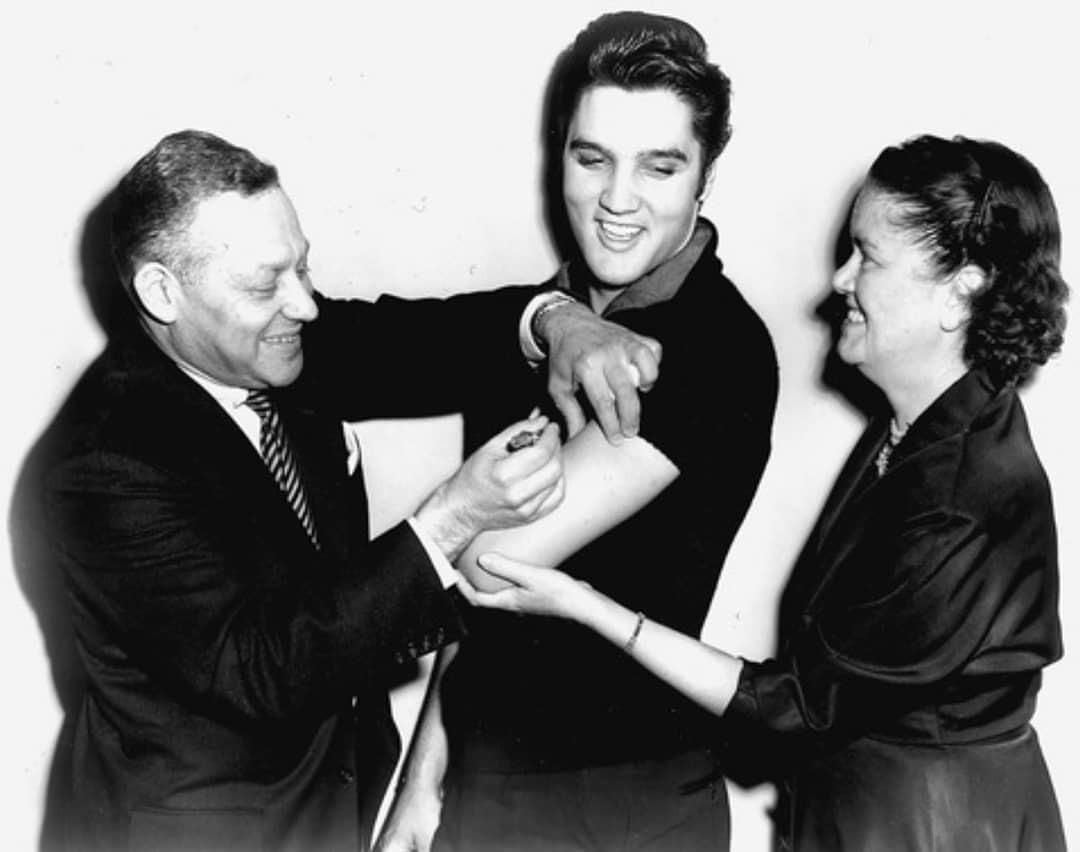 Elvis received his polio vaccination on national TV. That single event was responsible for raising immunization levels in the US from 0.06% to 80% in just 6 months 1956.jpg