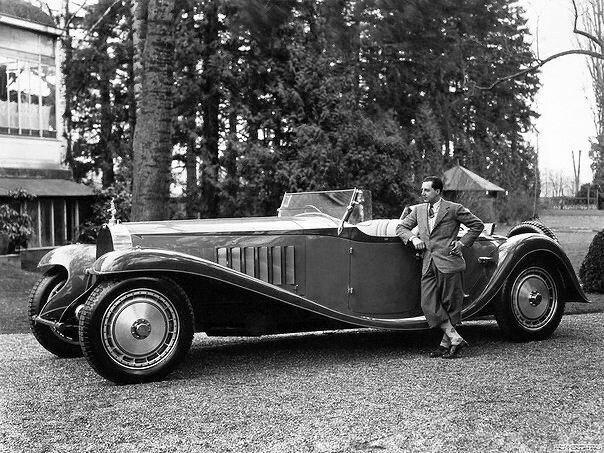 Jean Bugatti with his creation - Bugatti Type 41 Royale. 1920s.jpg