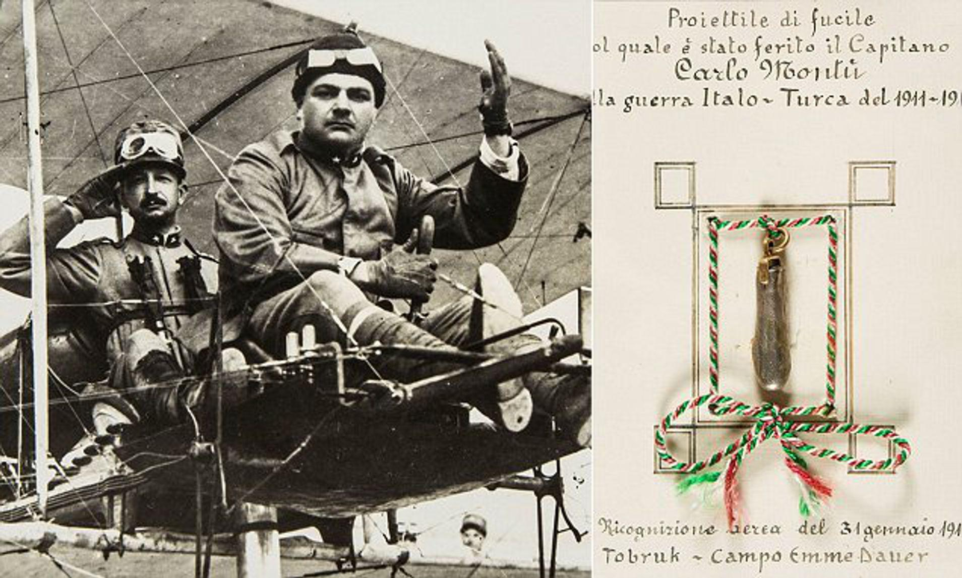 Captain Carlo Montu (front), the first pilot ever to be wounded in combat, he was shot and wounded near Tobruk, Libya during the Italian-Turkish War in 1912.jpg