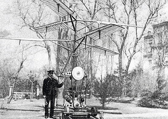 Igor Sikorsky with his first trial helicopter in Kyiv before WW1.jpg